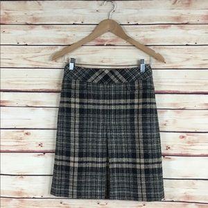 Ann Taylor Plaid A-Line Skirt Tan Black 00P NWT